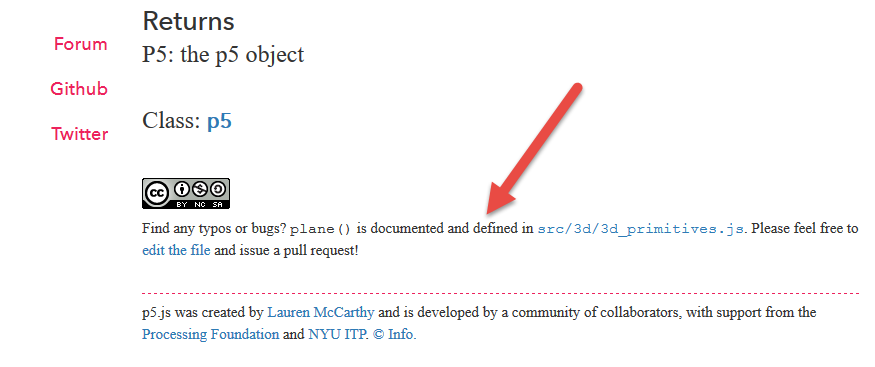 Screenshot of linking to documentation source